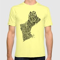 Typographic New England Mens Fitted Tee Lemon SMALL