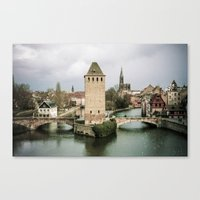 Faded Memories: Ponts Couverts, Strasbourg Canvas Print