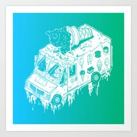 Melty Ice Cream Truck - Mint Art Print