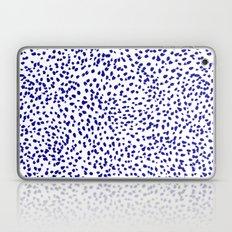 Vonnie - abstract minimal indigo blue dalmatian dots brushstrokes animal print monochromatic print Laptop & iPad Skin