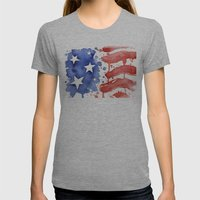 American Flag Watercolor 'Merica! Womens Fitted Tee Athletic Grey SMALL