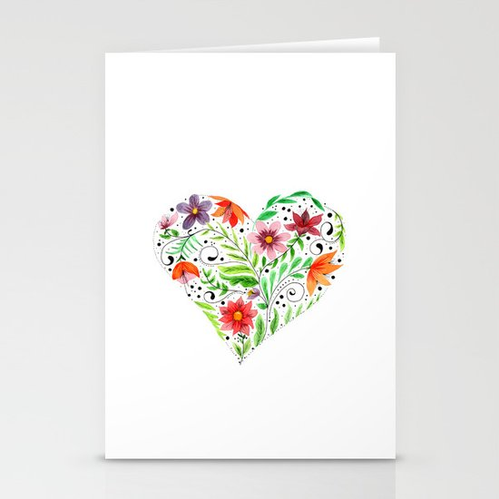 Heart of Flowers Stationery Card