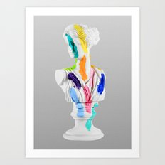 A Grecian Bust With Color Tests Art Print