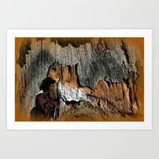 The Little Old Hunter -series with the cave images Art Print