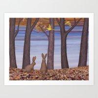 brown bunnies in autumn Art Print