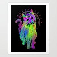 Psychic Psychedelic  Cat Art Print