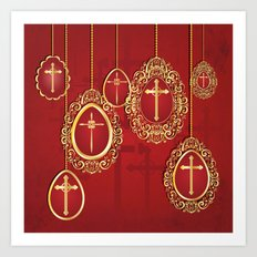 Gold crosses and eggs shapes on red Art Print