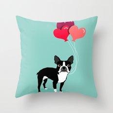 Boston Terrier Valentine… Throw Pillow