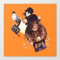 Animal art, animals in hats, funny animals,  Canvas Print