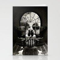 skull Stationery Cards featuring Room Skull B&W by Ali GULEC
