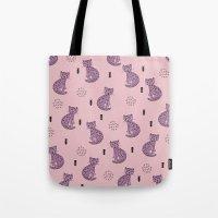 Hot pink leopard cat illustration pattern Tote Bag