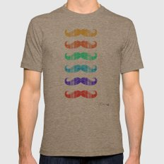 Moustache you a question!  Mens Fitted Tee Tri-Coffee SMALL