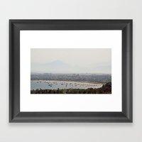 Boat Bay With Bird Framed Art Print