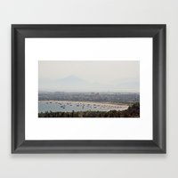 Boat Bay With Bird Framed Art Print