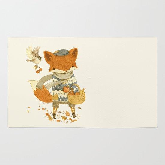 Fritz the Fruit-Foraging Fox Area & Throw Rug