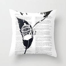 Vintage print with Edgar Alan Poe Poem and Raven Silhouette: Break Free Throw Pillow