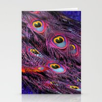 Purple peacock Stationery Cards