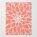 Coral Modern Dahlia Flower Canvas Print