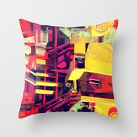 Industrial Abstract Red Throw Pillow