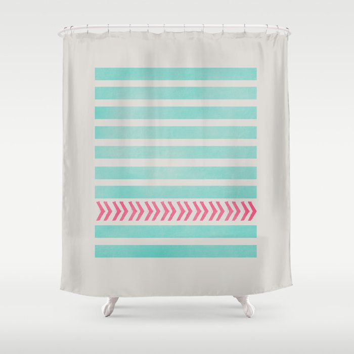 STRIPES AND ARROWS PINK BLUE Shower Curtain By Allyson Johnson Soci