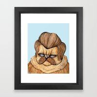 Ron Swanson Cat Framed Art Print