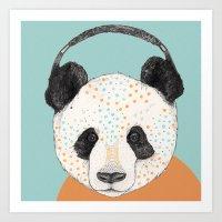 panda Art Prints featuring Polkadot Panda by Sandra Dieckmann