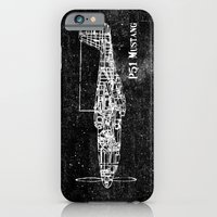 iPhone & iPod Case featuring North American P51 Mustang (White) by One Curious Chip