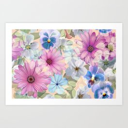 Art Print - Pink and blue floral pattern - CatyArte