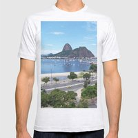 Rio de Janeiro Landscape Mens Fitted Tee Ash Grey SMALL