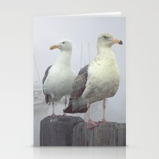 Two Sea Gulls in a Misty Harbor with Sailboats and Fishing Boats on Vancouver Island Stationery Cards