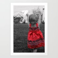 Happy Red Dress Art Print