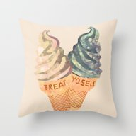 Throw Pillow featuring Treat Yo' Self by Suburban Bird Design…