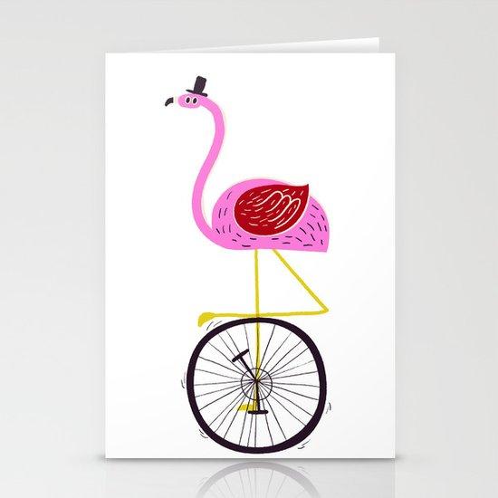 flamingo unicycler Stationery Card