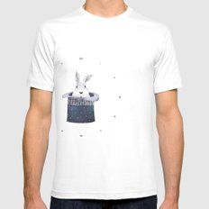 Mr. Rabbit and the Mad Hatter hat White Mens Fitted Tee SMALL