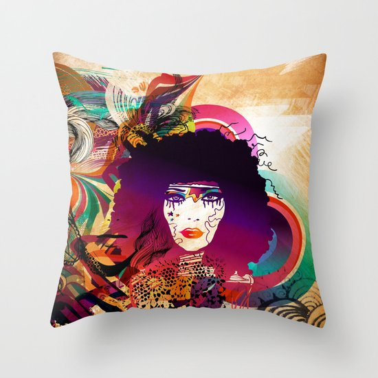 Afro Girl Throw Pillow