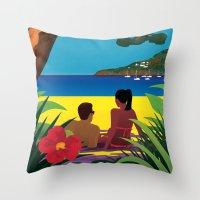 A Shaded Beach Throw Pillow