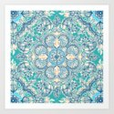 Gypsy Floral in Teal & Blue Art Print