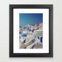 Blue Domes, Oia, Santori… Framed Art Print