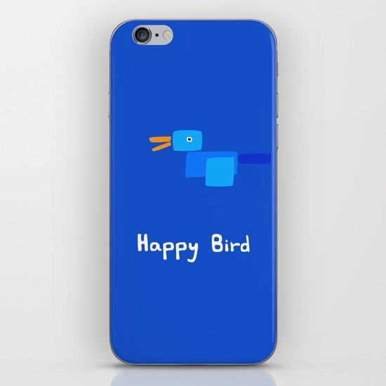Happy Bird-Blue iPhone & iPod Skin