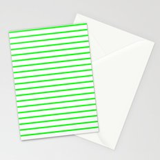 Horizontal Lines (Green/White) Stationery Cards