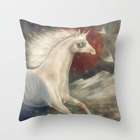 Licorne in Technicolor Throw Pillow