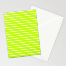 Horizontal Lines (White/Lime) Stationery Cards