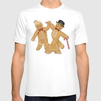 Gingerbread Family Winter Fun Mens Fitted Tee White SMALL