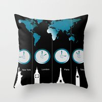TIME ZONES. NEW YORK, LO… Throw Pillow