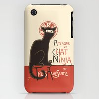iPhone 3Gs & iPhone 3G Cases featuring A French Ninja Cat (Le Chat Ninja) by Kyle Walters