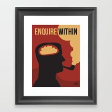 Enquire Within - Man, Brain, Thinking, Pipe, Retro, Silhouette Framed Art Print