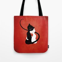 White And Black Cats In … Tote Bag