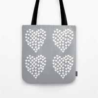 Hearts Heart x2 Grey Tote Bag