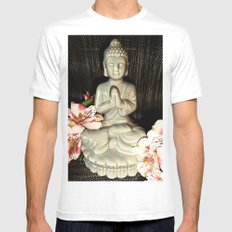 Buddha 2 White Mens Fitted Tee SMALL