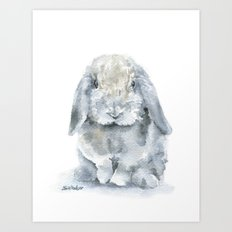 Mini Lop Gray Rabbit Watercolor Painting Art Print